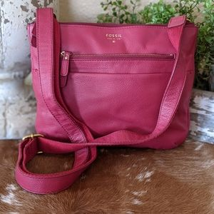 Vintage Red Leather Fossil Crossbody